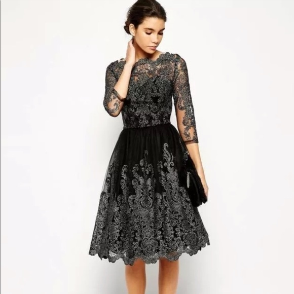 Chi Chi London Black N Silver Lace Dress